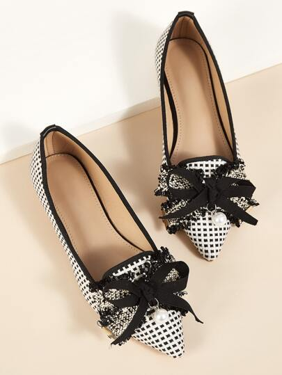 Bow & Faux Pearl Decor Point Toe Flats