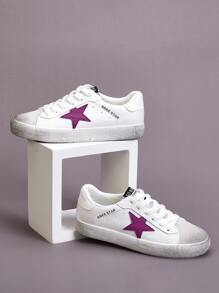 Star Patch Letter Graphic Lace-up Sneakers