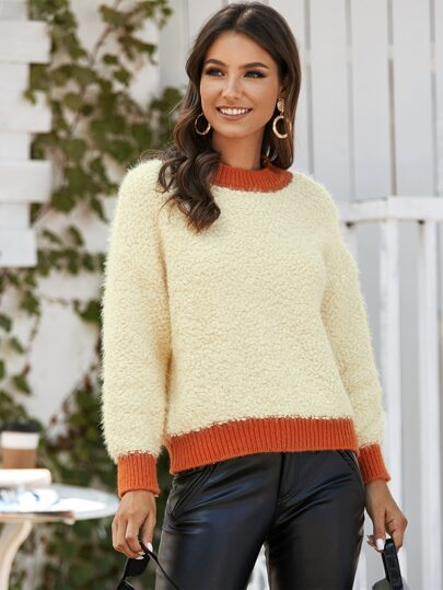 Contrast Binding Boucle Knit Sweater