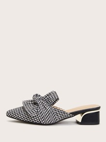 Point Toe Houndstooth Heeled Mules