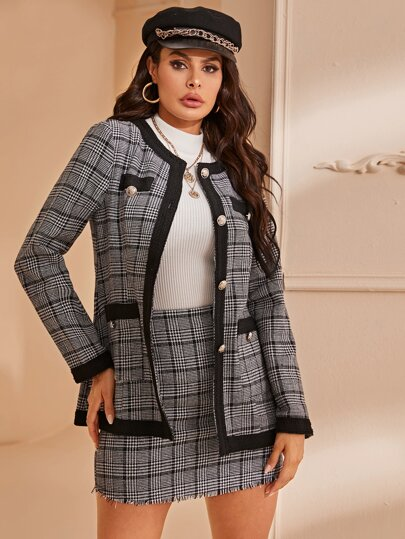 Contrast Binding Double Pocket Plaid Coat