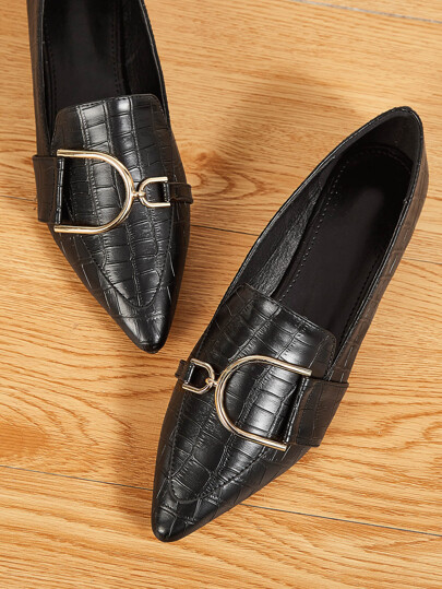 Point Toe Metal Detail Croc Loafers