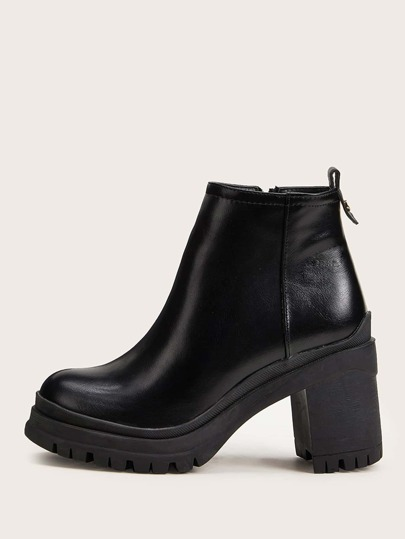Side Zip Chunky Heeled Boots