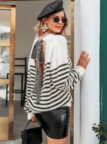 Simplee Knot Backless Striped Fluffy Knit Sweater