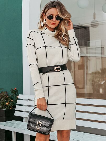 Simplee Turtleneck Grid Sweater Dress Without Belt