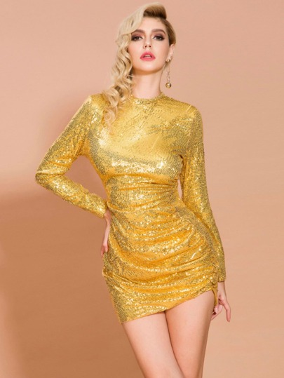 Missord Zip Back Ruched Sequin Bodycon Dress
