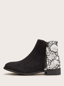 Snakeskin Panel Side Zip Ankle Boots