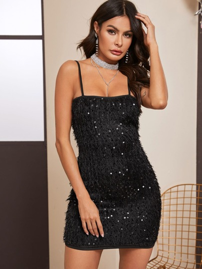 Contrast Sequin Frayed Cami Dress
