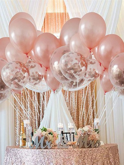 20pcs 12 Inch Plain & Confetti Balloon Set
