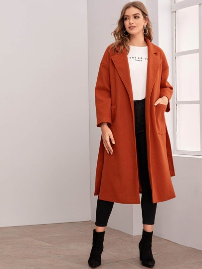 Slit Hem Pocket Patched Belted Overcoat