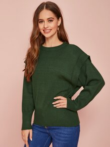 Solid Drop Shoulder Ribbed Sweater