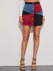 Button Up Colorblock Suede Skirt