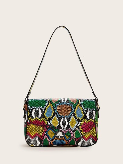 Snakeskin Print Flap Shoulder Bag