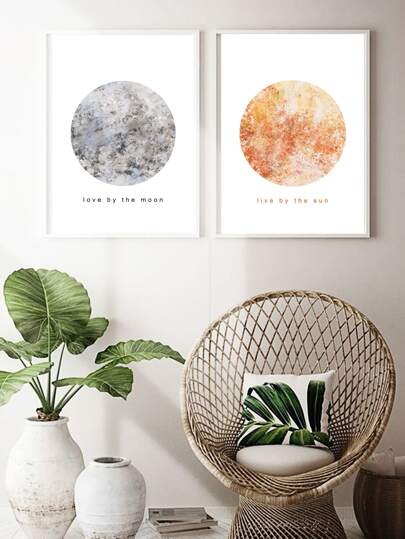 1pc Sun & Moon Wall Art Print Without Frame