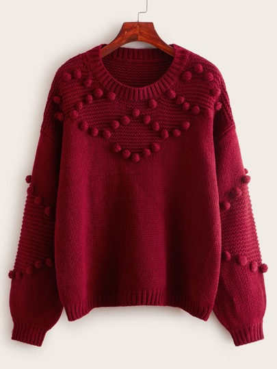 Drop Shoulder Popcorn Knit Sweater