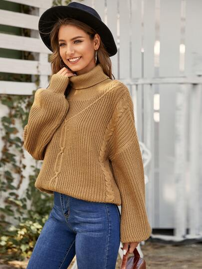 Rolled Neck Balloon Sleeve Cable Knit Sweater