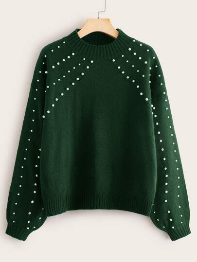 Pearl Beaded Drop Shoulder Sweater