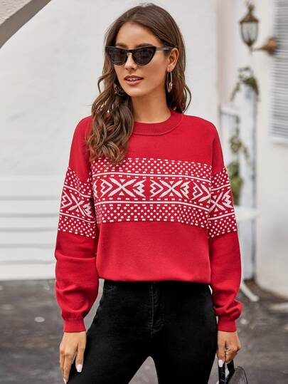 Drop Shoulder Christmas New Year Pattern Sweater