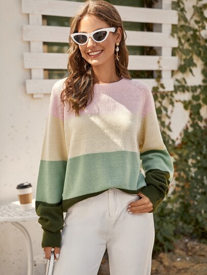 Raglan Sleeve Colorblock Oversized Sweater