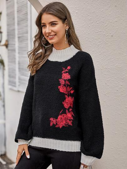 Floral Embroidered Contrast Trim Fuzzy Sweater
