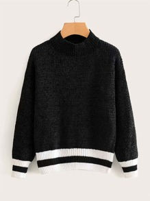 Striped Ribbed Knit Mock Neck Sweater