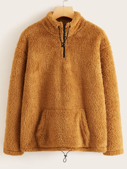 Quarter Zip Kangaroo Pocket Teddy Sweatshirt