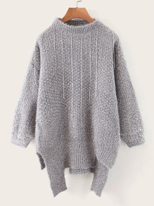 Solid Mock Neck Raw Hem Fuzzy Sweater