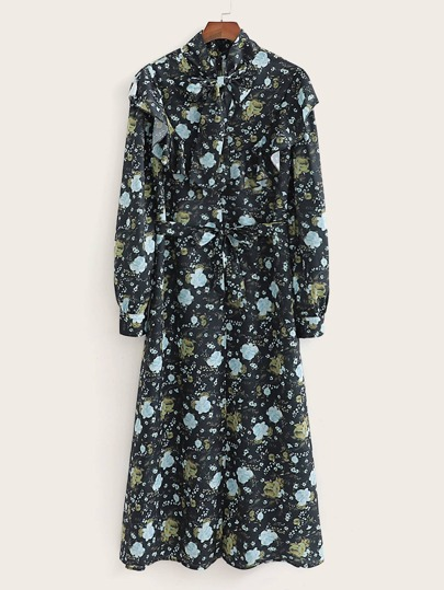 Floral Print Tie Neck Ruffle Trim Belted Dress