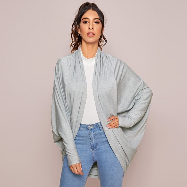 Dolman Sleeve High Low Open Front Coat, Grey