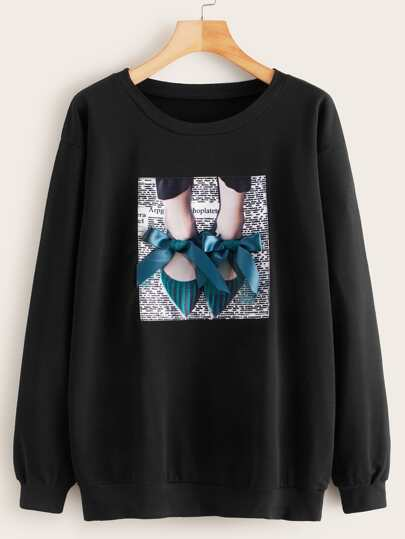 Bow Front Feet And Letter Graphic Sweatshirt