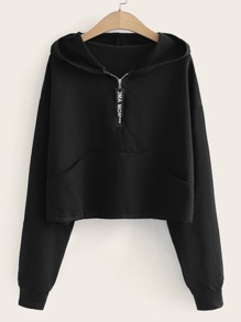 Letter Half Zip Hooded Sweatshirt