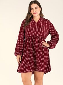 Plus Notched Bishop Sleeve Babydoll Dress