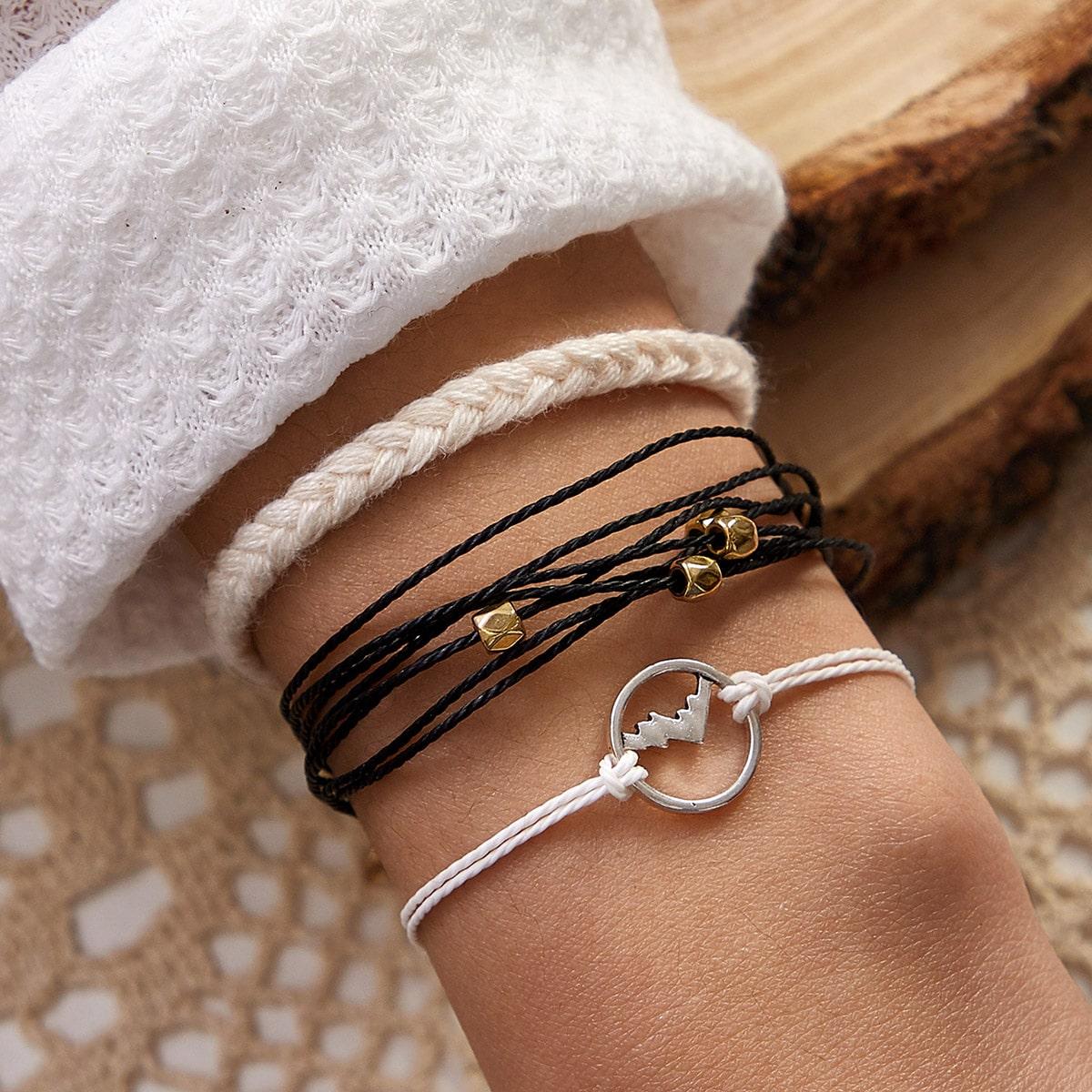Плетеный браслет с декором 3шт