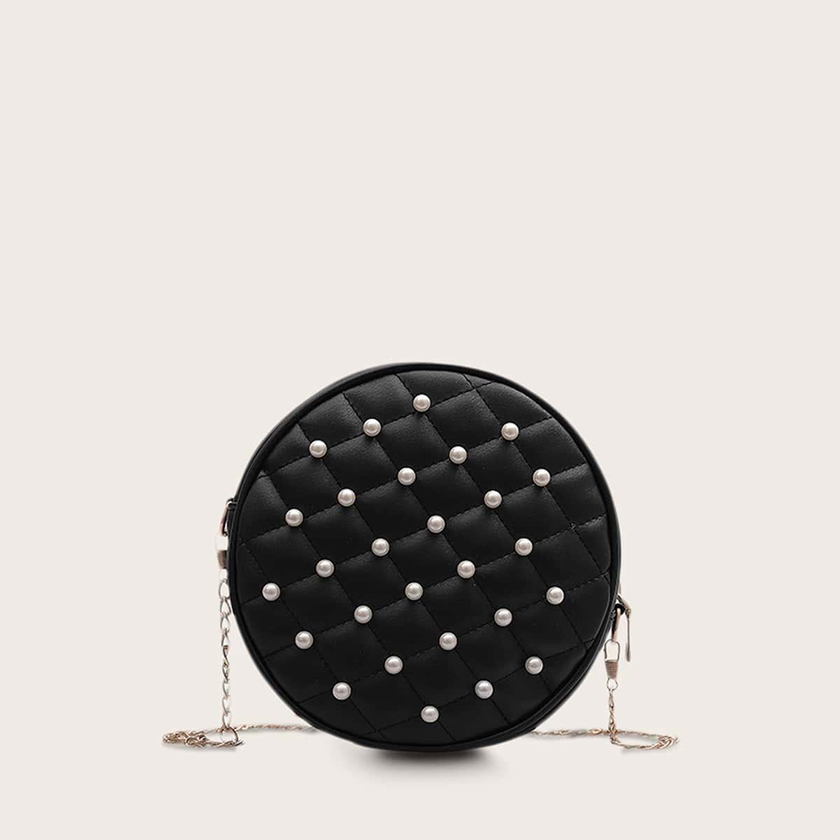 Стеганая сумка на цепочке с искусственными жемчугами