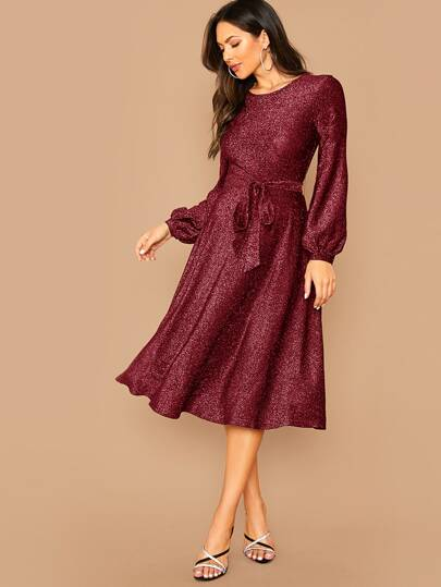 Lantern Sleeve Self Belted Glitter Dress