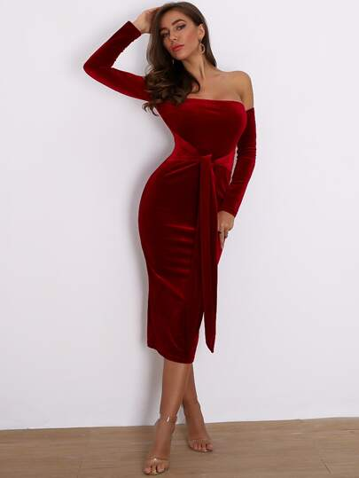 Joyfunear Off Shoulder Tie Waist Velvet Bodycon Dress