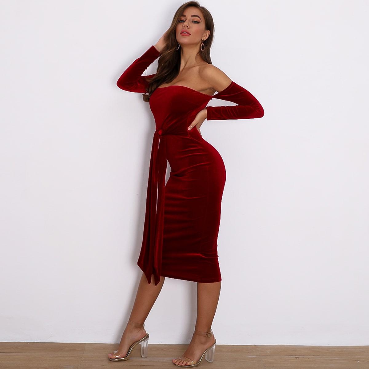 облегающее бархатое платье с открытыми плечами и узлом SheIn swdress42191111736