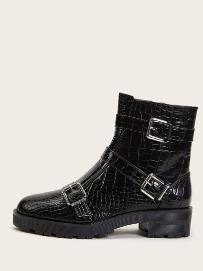 Buckle Decor Croc Side Zip Boots