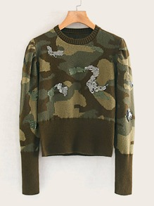 Camo Print Ribbed Knit Sweater