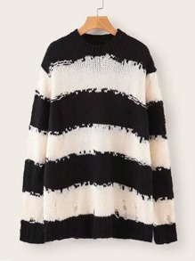 Drop Shoulder Stripe Ripped Sweater