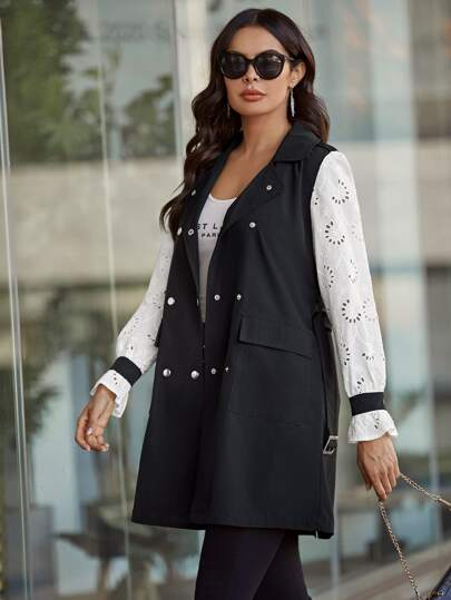 Double Breasted Eyelet Embroidered Belted Coat
