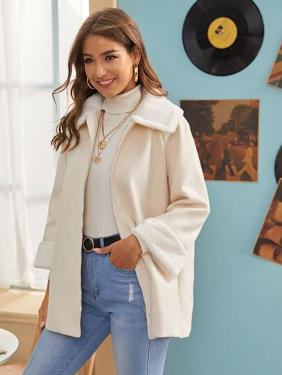 Zip Up Contrast Faux Fur Pocket Side Coat