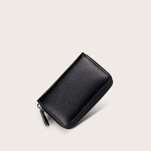 Men Textured Zip Around Purse, Black