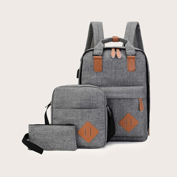 3pcs Men PU Patch Decor Backpack, Grey