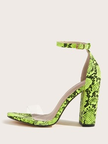 Snakeskin Print Ankle Strap Chunky Heels