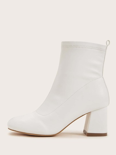 Stitch Detail Chunky Heeled Ankle Boots