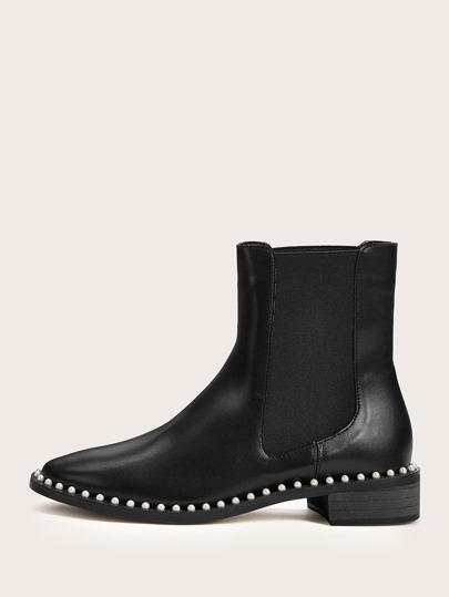Faux Pearl Decor Chelsea Boots