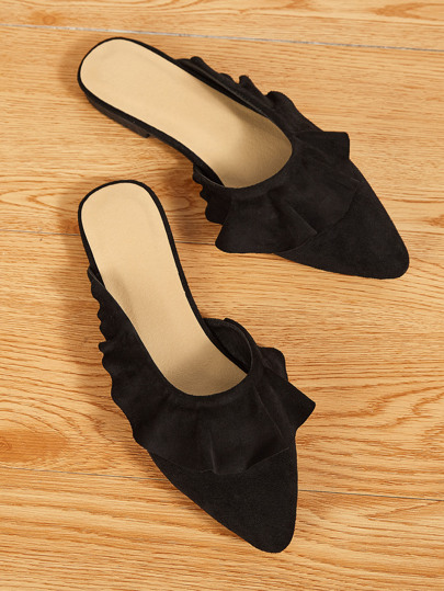 Point Toe Ruffle Decor Flat Mules