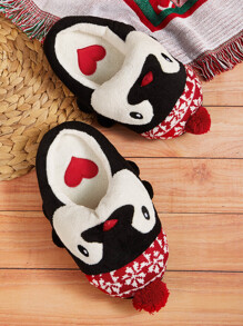 Penguin Design Heart Detail Slippers