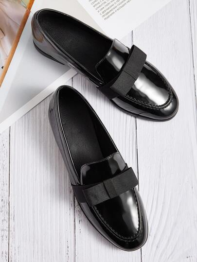 Patent Slip On Flat Loafers